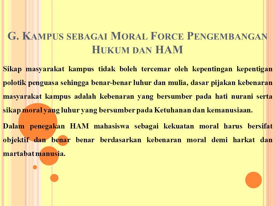 G. Kampus sebagai Moral Force Pengembangan Hukum dan HAM