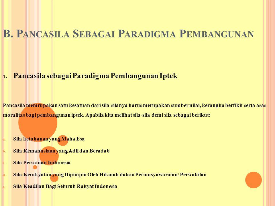 B. Pancasila Sebagai Paradigma Pembangunan