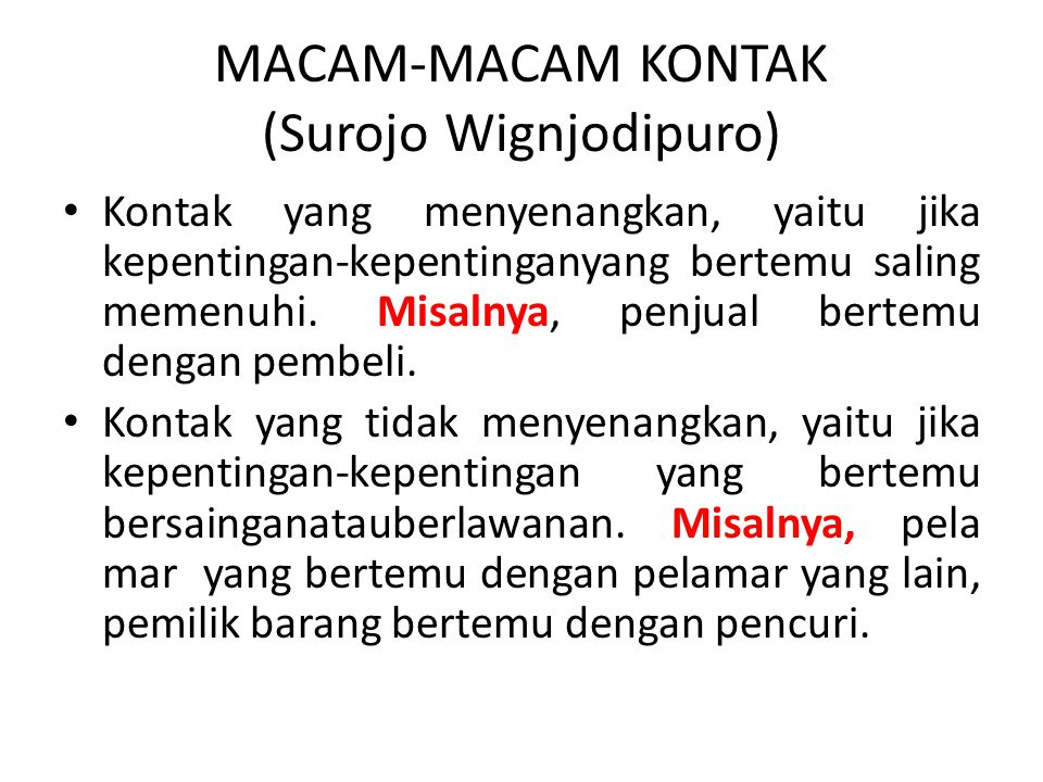 MACAM-MACAM KONTAK (Surojo Wignjodipuro)