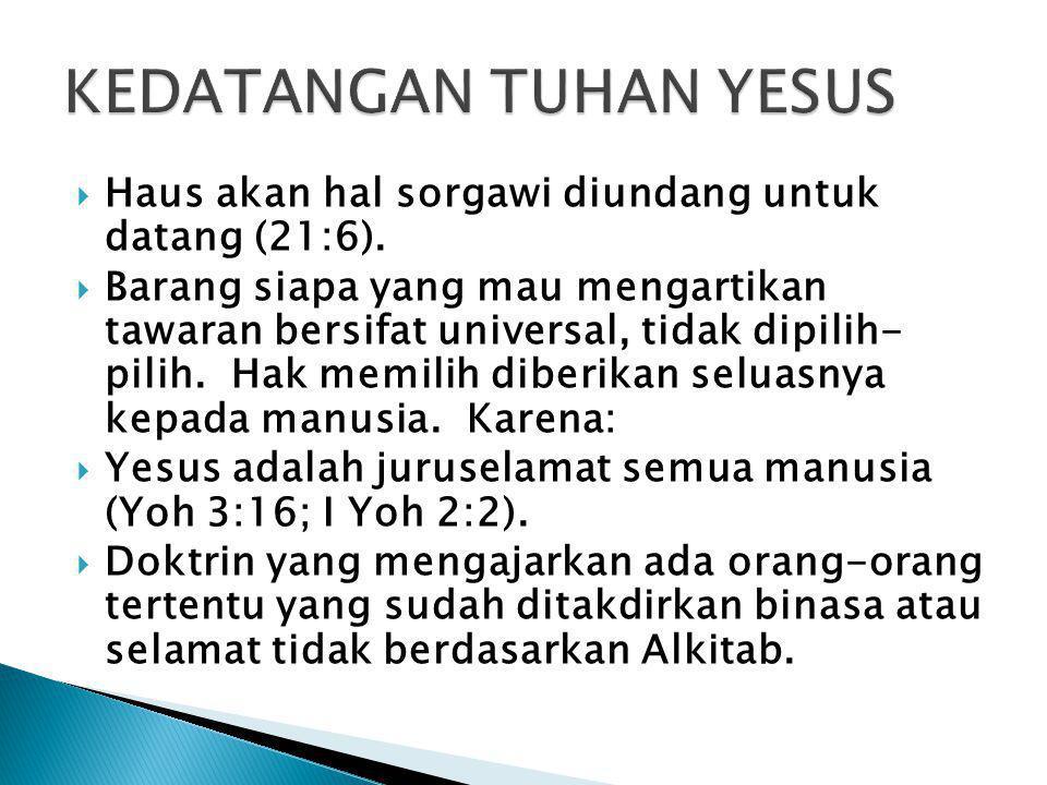 KEDATANGAN TUHAN YESUS