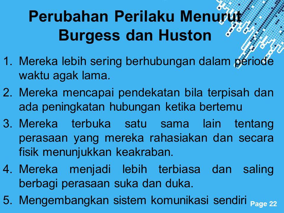 Perubahan Perilaku Menurut Burgess dan Huston