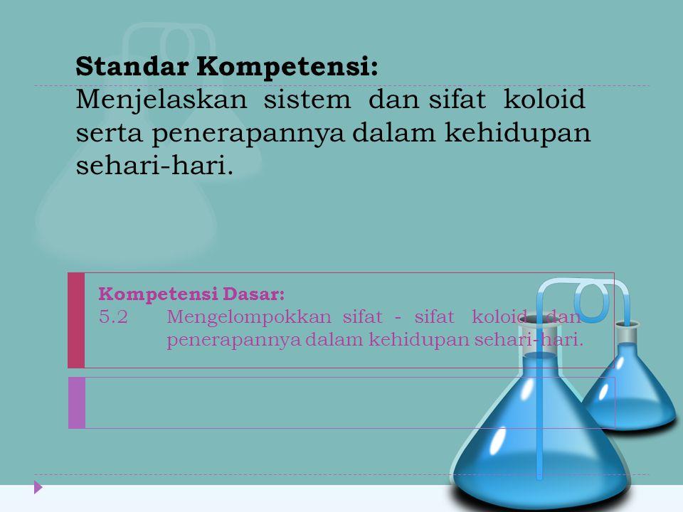 Standar Kompetensi: Menjelaskan sistem dan sifat koloid serta penerapannya dalam kehidupan sehari-hari.