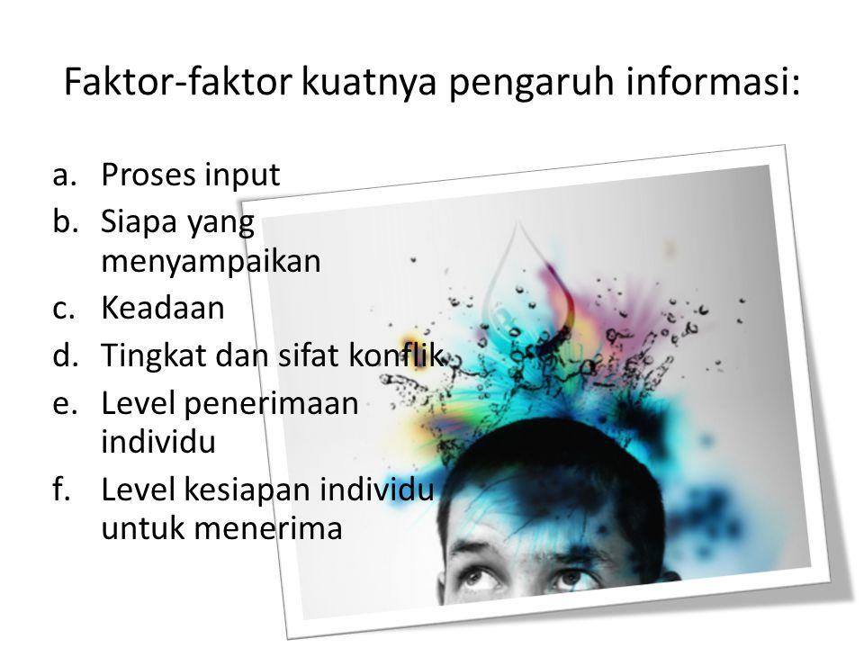 Faktor-faktor kuatnya pengaruh informasi: