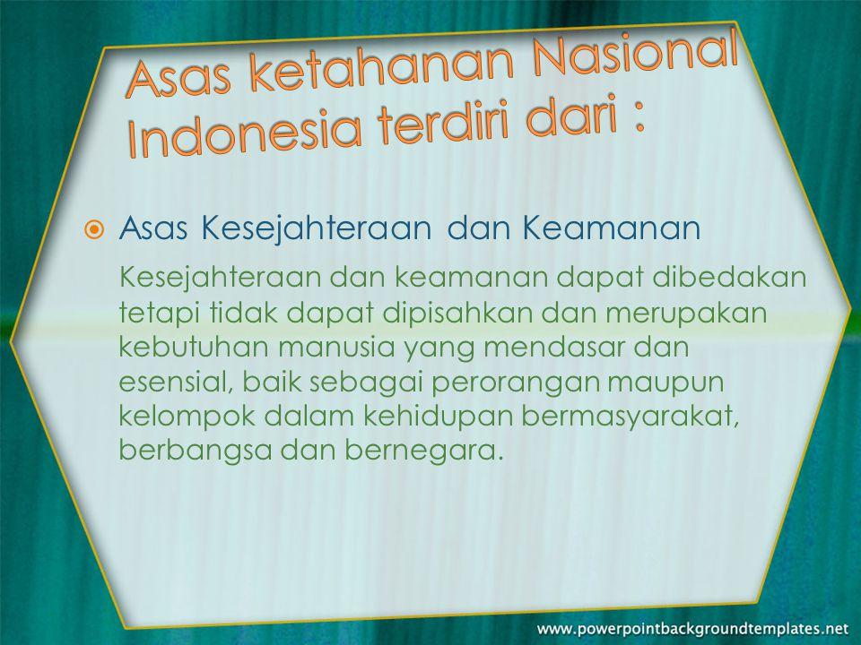 Asas ketahanan Nasional Indonesia terdiri dari :