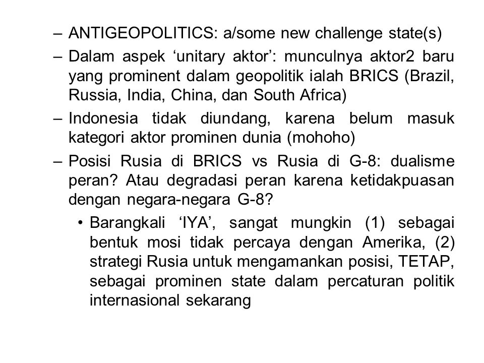 ANTIGEOPOLITICS: a/some new challenge state(s)