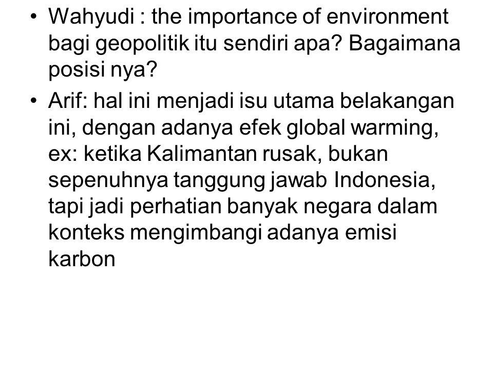 Wahyudi : the importance of environment bagi geopolitik itu sendiri apa Bagaimana posisi nya