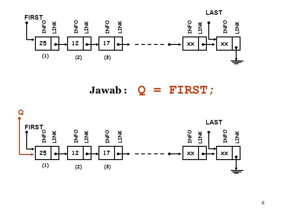 Q = FIRST; Jawab : Q LAST FIRST xx xx LAST FIRST xx xx 25 12 17 25 12