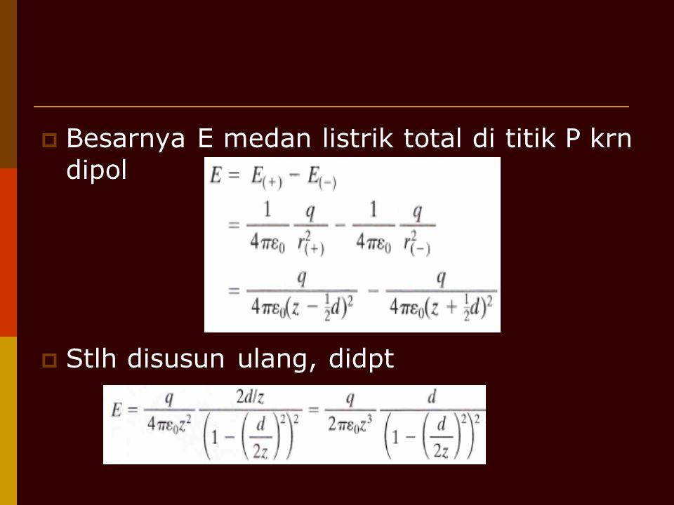 Besarnya E medan listrik total di titik P krn dipol