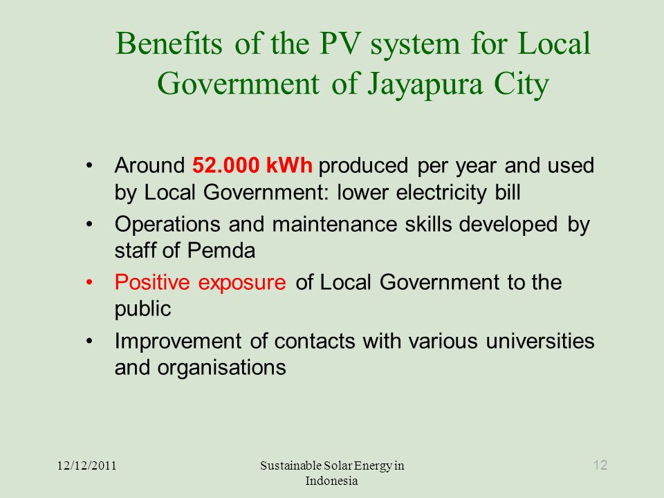 Benefits of the PV system for Local Government of Jayapura City