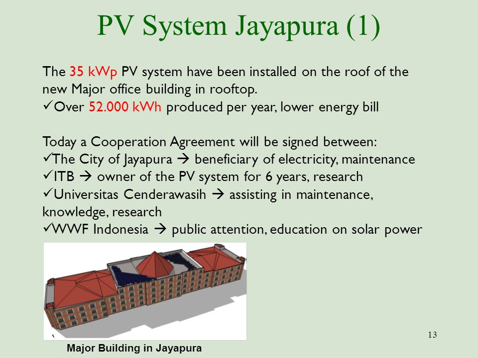 PV System Jayapura (1) The 35 kWp PV system have been installed on the roof of the new Major office building in rooftop.