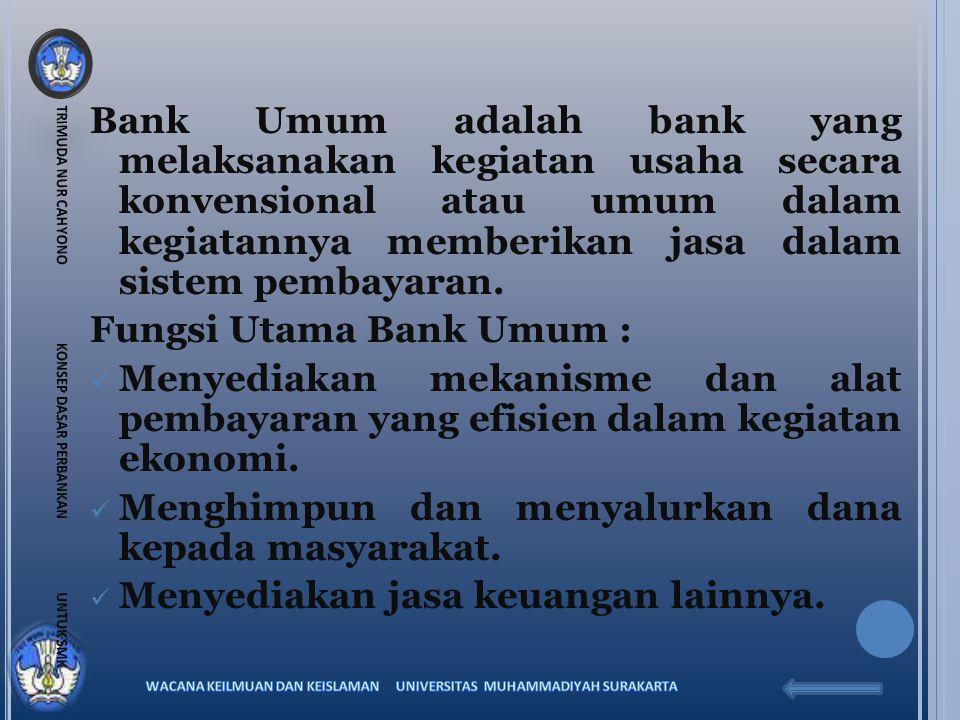 Fungsi Utama Bank Umum :