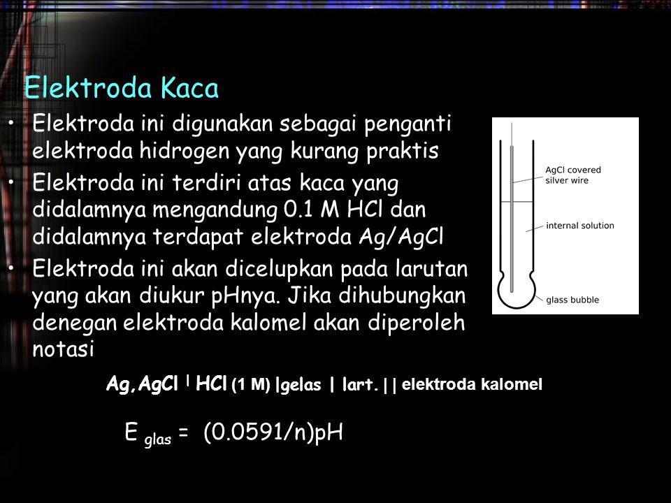 Ag,AgCl | HCl (1 M) |gelas | lart. | | elektroda kalomel