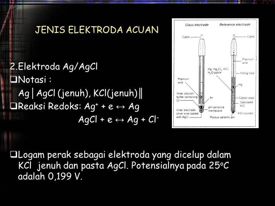 JENIS ELEKTRODA ACUAN 2. Elektroda Ag/AgCl. Notasi : Ag│AgCl (jenuh), KCl(jenuh)║ Reaksi Redoks: Ag+ + e ↔ Ag.