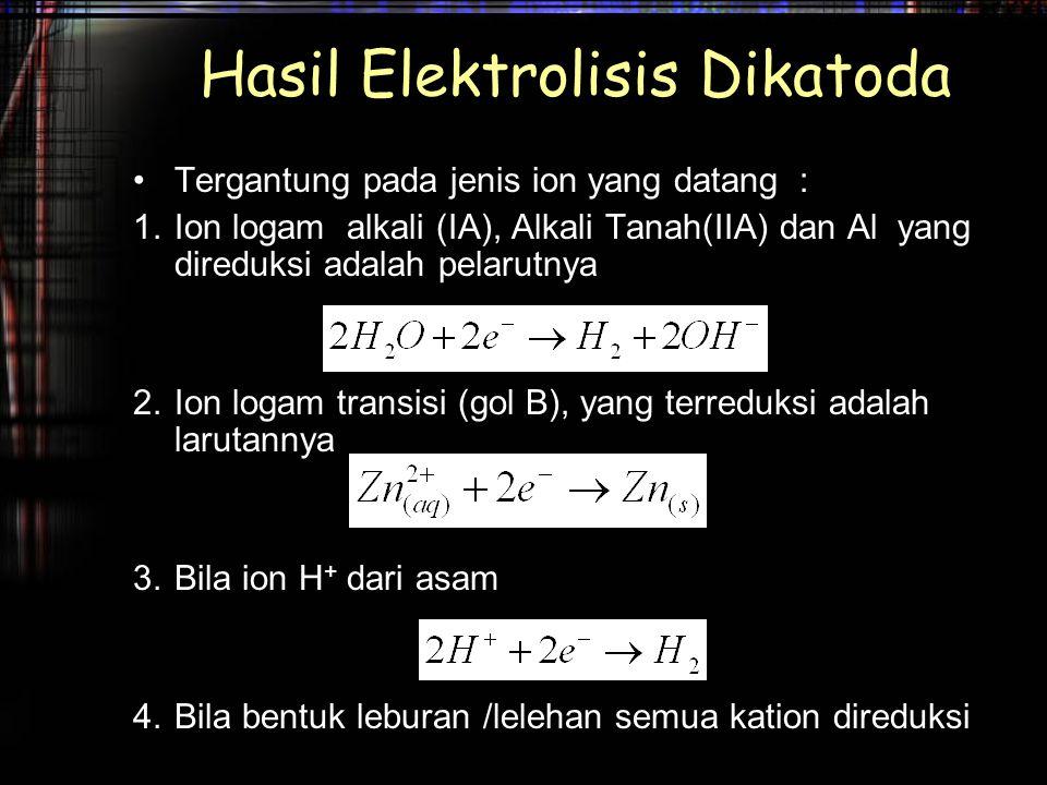 Hasil Elektrolisis Dikatoda