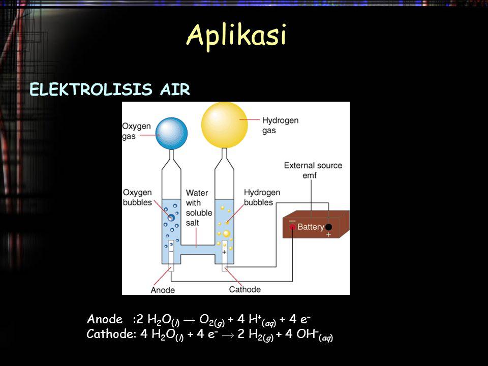 Aplikasi ELEKTROLISIS AIR Anode :2 H2O(l)  O2(g) + 4 H+(aq) + 4 e–