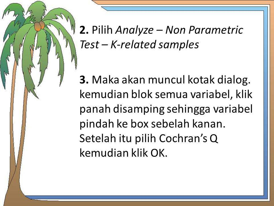 2. Pilih Analyze – Non Parametric Test – K-related samples 3
