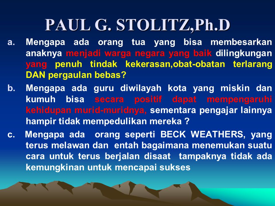 PAUL G. STOLITZ,Ph.D