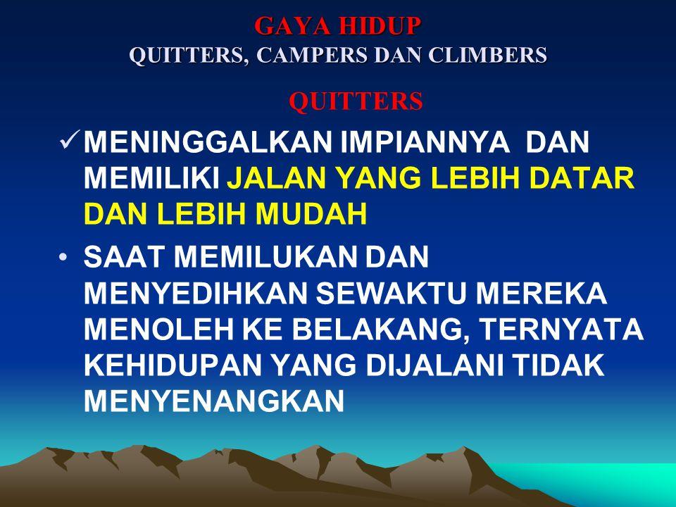 GAYA HIDUP QUITTERS, CAMPERS DAN CLIMBERS