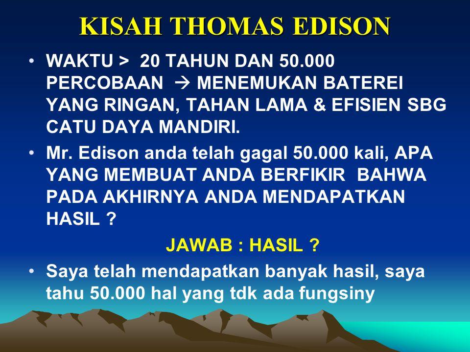 KISAH THOMAS EDISON WAKTU > 20 TAHUN DAN 50.000 PERCOBAAN  MENEMUKAN BATEREI YANG RINGAN, TAHAN LAMA & EFISIEN SBG CATU DAYA MANDIRI.