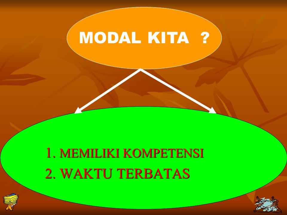 MODAL KITA 1. MEMILIKI KOMPETENSI 2. WAKTU TERBATAS