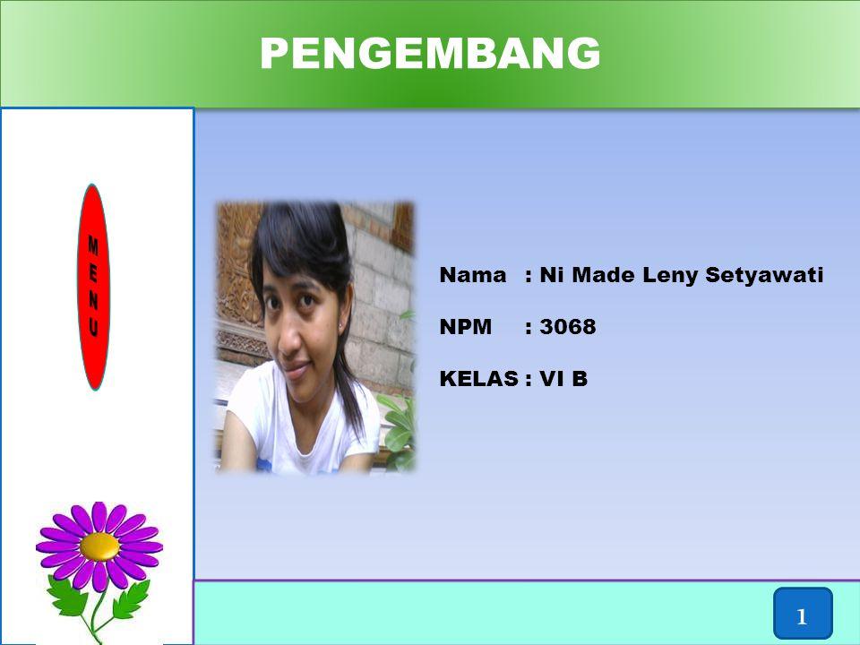 PENGEMBANG 1 M E N U Nama : Ni Made Leny Setyawati NPM : 3068