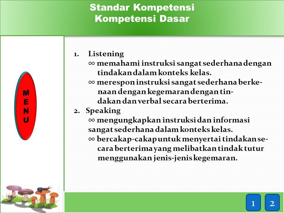1 2 Standar Kompetensi Kompetensi Dasar Listening