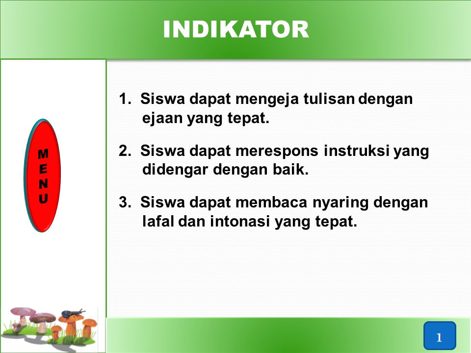 INDIKATOR 1 1. Siswa dapat mengeja tulisan dengan ejaan yang tepat.