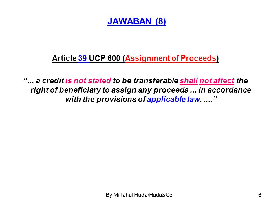 Article 39 UCP 600 (Assignment of Proceeds)