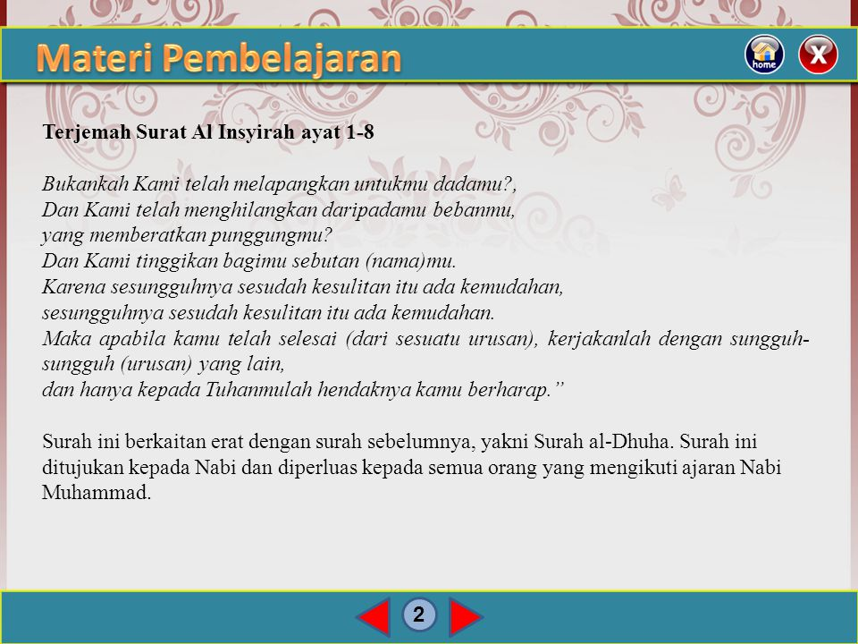 Materi Pembelajaran Terjemah Surat Al Insyirah ayat 1-8