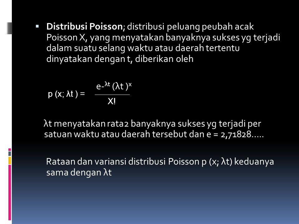 Distribusi Poisson; distribusi peluang peubah acak Poisson X, yang menyatakan banyaknya sukses yg terjadi dalam suatu selang waktu atau daerah tertentu dinyatakan dengan t, diberikan oleh