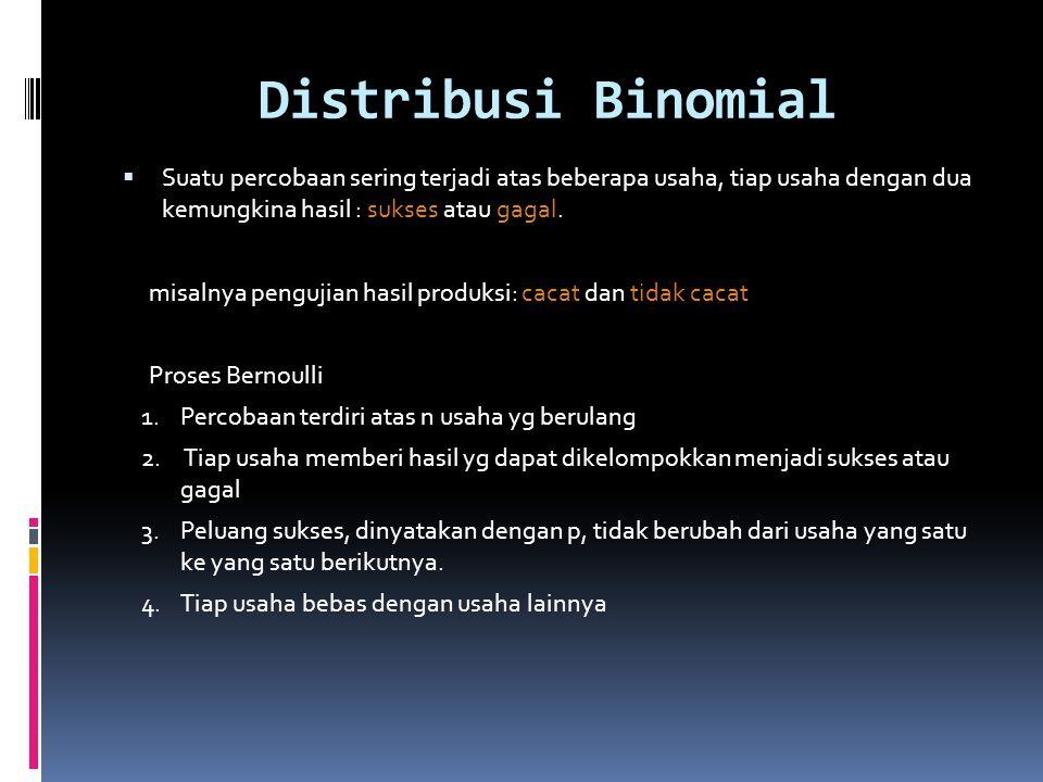 Distribusi Binomial Suatu percobaan sering terjadi atas beberapa usaha, tiap usaha dengan dua kemungkina hasil : sukses atau gagal.
