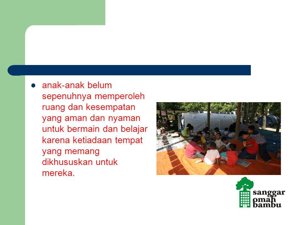 anak-anak belum sepenuhnya memperoleh ruang dan kesempatan yang aman dan nyaman untuk bermain dan belajar karena ketiadaan tempat yang memang dikhususkan untuk mereka.
