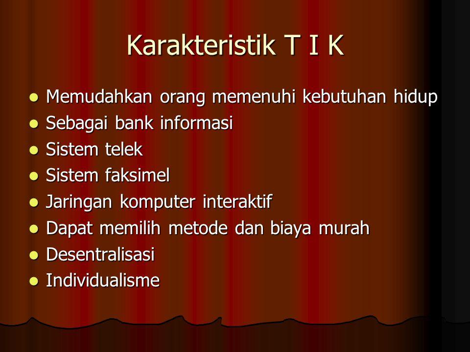Karakteristik T I K Memudahkan orang memenuhi kebutuhan hidup