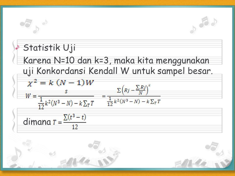 Statistik Uji Karena N=10 dan k=3, maka kita menggunakan uji Konkordansi Kendall W untuk sampel besar.