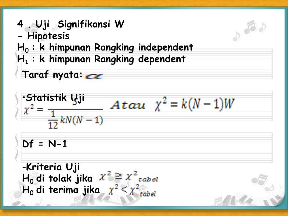 4 . Uji Signifikansi W - Hipotesis. H0 : k himpunan Rangking independent. H1 : k himpunan Rangking dependent.