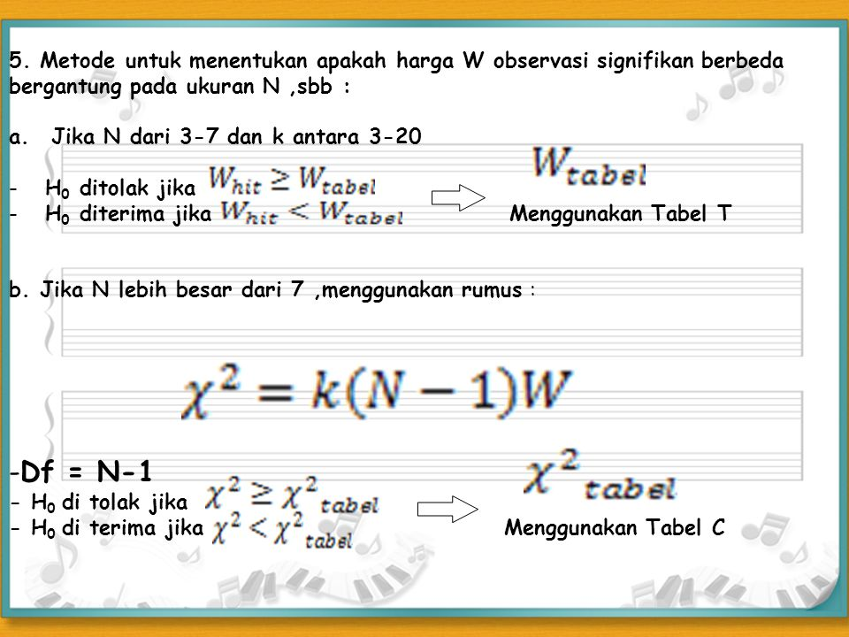 5. Metode untuk menentukan apakah harga W observasi signifikan berbeda bergantung pada ukuran N ,sbb :