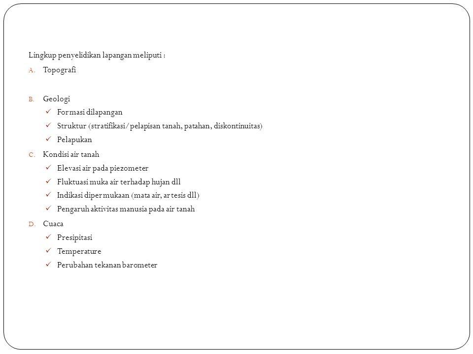 Lingkup penyelidikan lapangan meliputi :
