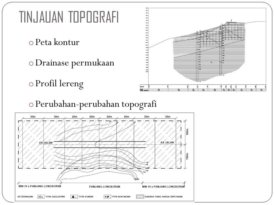 TINJAUAN TOPOGRAFI Peta kontur Drainase permukaan Profil lereng