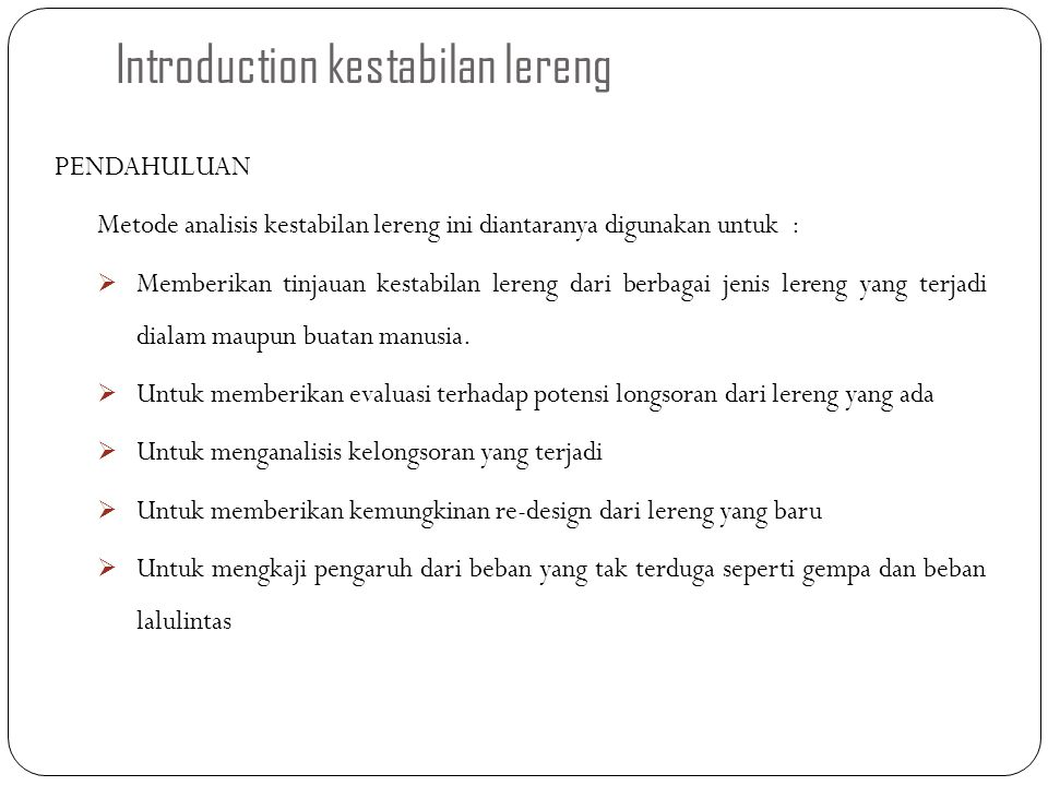 Introduction kestabilan lereng