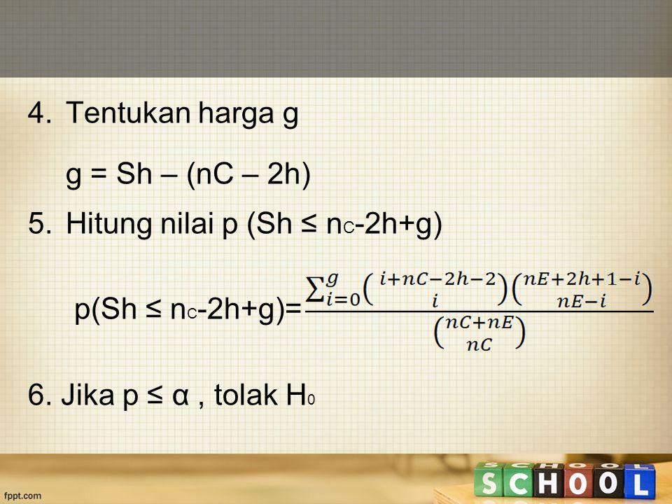 4. Tentukan harga g g = Sh – (nC – 2h) Hitung nilai p (Sh ≤ nC-2h+g) p(Sh ≤ nC-2h+g)= 6.