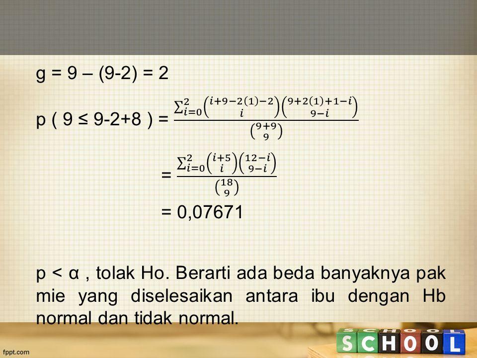 g = 9 – (9-2) = 2 p ( 9 ≤ 9-2+8 ) = 𝑖=0 2 𝑖+9−2 1 −2 𝑖 9+2 1 +1−𝑖 9−𝑖 9+9 9. = 𝑖=0 2 𝑖+5 𝑖 12−𝑖 9−𝑖 18 9.
