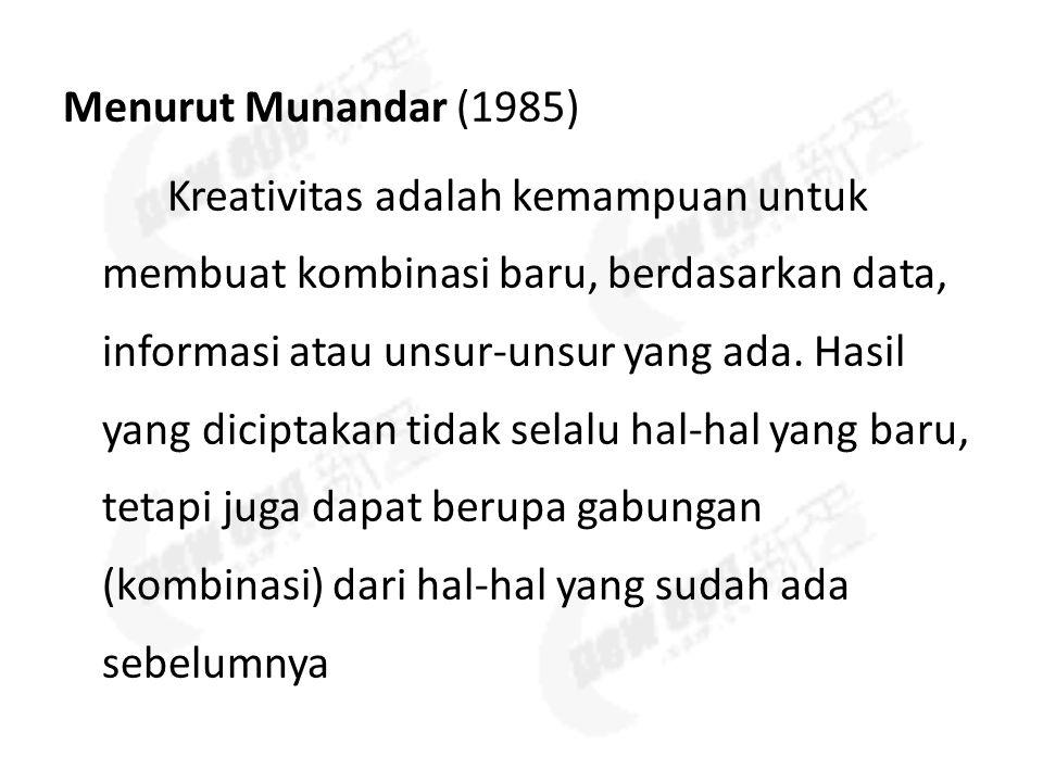 Menurut Munandar (1985) Kreativitas adalah kemampuan untuk membuat kombinasi baru, berdasarkan data, informasi atau unsur-unsur yang ada.