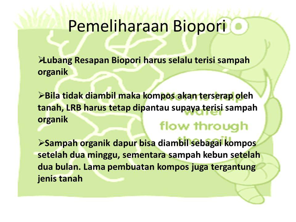 Pemeliharaan Biopori Lubang Resapan Biopori harus selalu terisi sampah organik.