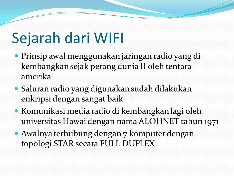 Sejarah dari WIFI Prinsip awal menggunakan jaringan radio yang di kembangkan sejak perang dunia II oleh tentara amerika.