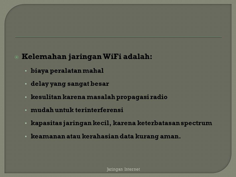 Kelemahan jaringan WiFi adalah:
