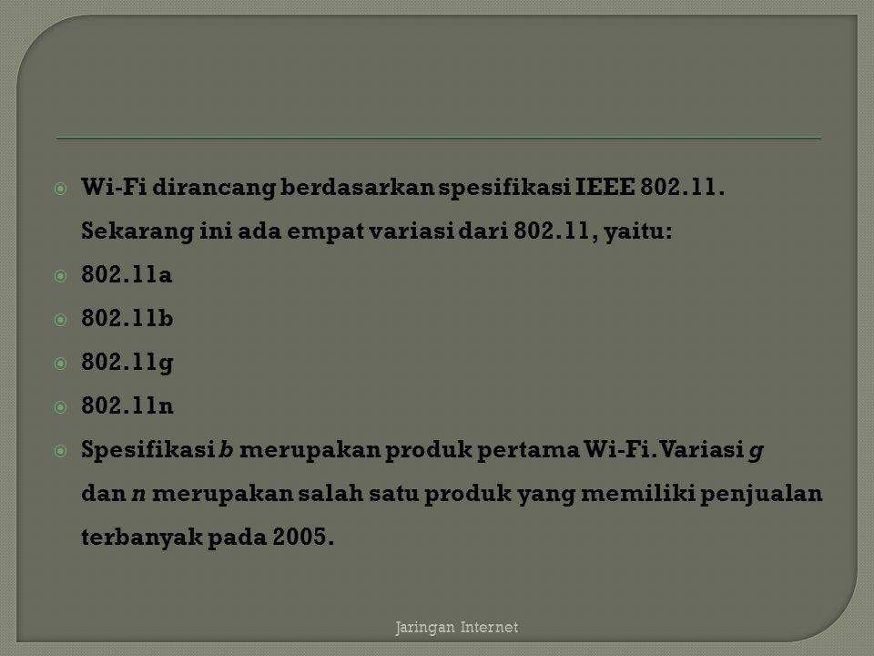 Wi-Fi dirancang berdasarkan spesifikasi IEEE 802. 11