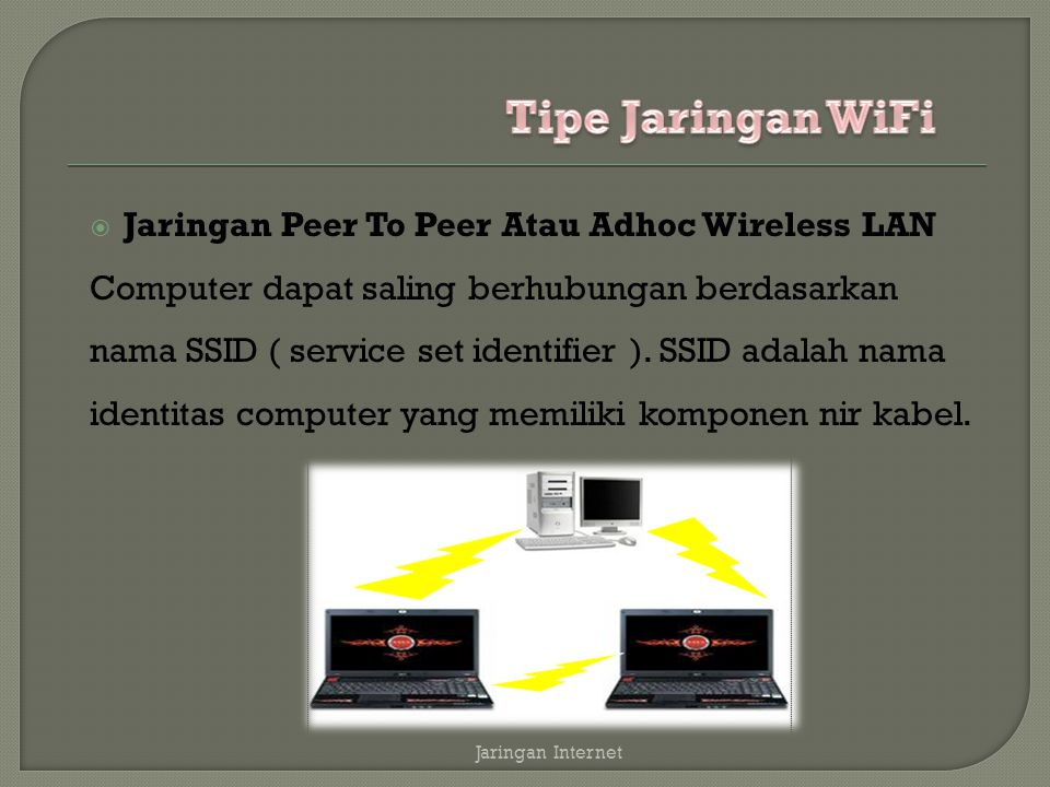 Tipe Jaringan WiFi Jaringan Peer To Peer Atau Adhoc Wireless LAN