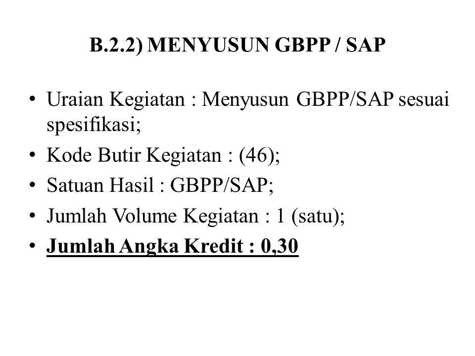 B.2.2) MENYUSUN GBPP / SAP Uraian Kegiatan : Menyusun GBPP/SAP sesuai spesifikasi; Kode Butir Kegiatan : (46);
