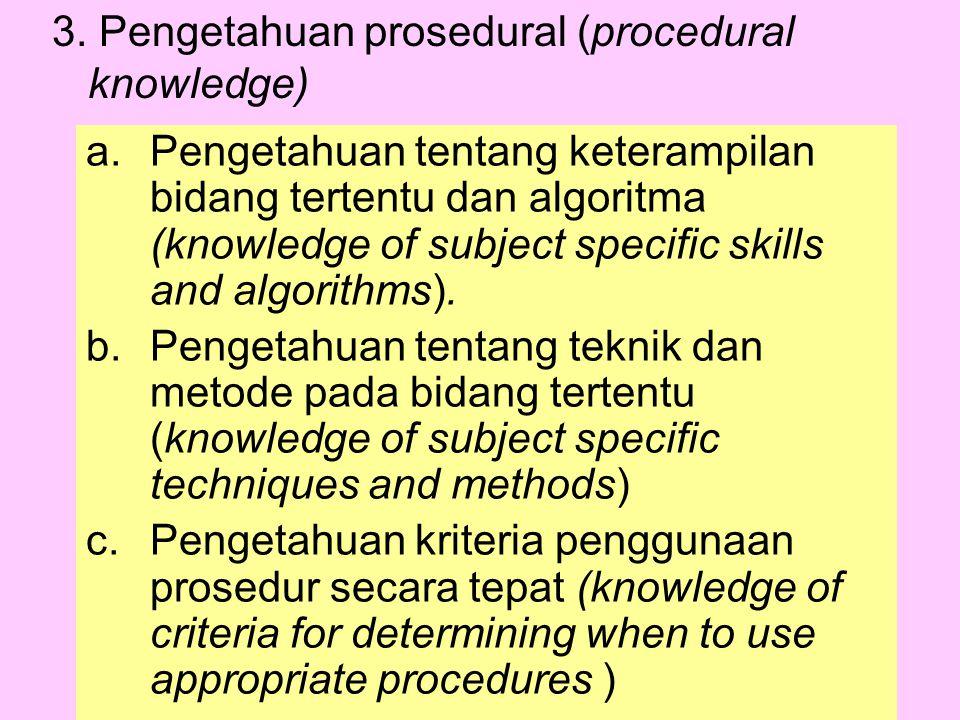 3. Pengetahuan prosedural (procedural knowledge)