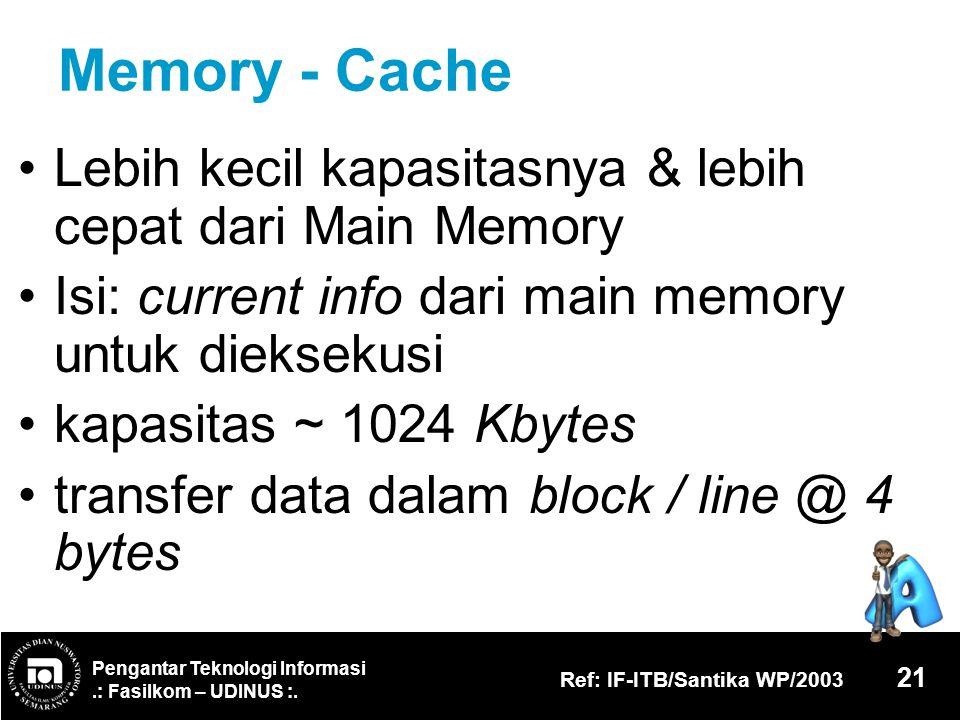 Memory - Cache Lebih kecil kapasitasnya & lebih cepat dari Main Memory